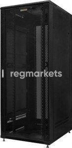 Шкаф напольный телекоммуникационный 42U, 800x1000x2085 мм, стеклянная дверь, черный, GYDERS GDR-428010B